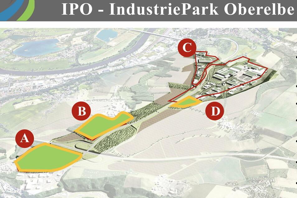 Nur für die auf Pirnaer Flur liegenden Flächen C und D des Industrieparks Oberelbe soll zunächst weitergeplant werden. B sind die Heidenauer Flächen, A die Dohnaer.
