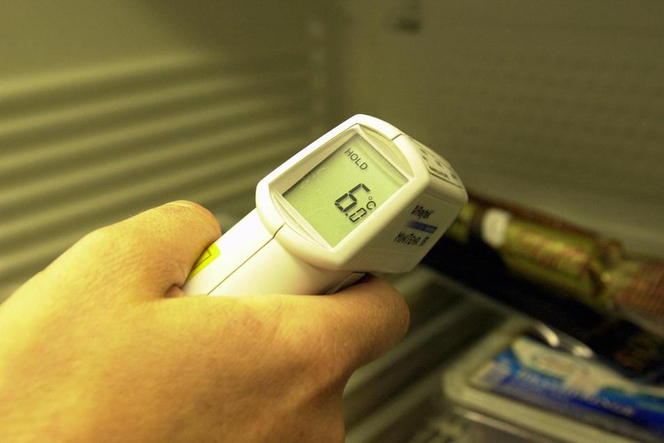 Ein Lebensmittelkontrolleur überprüft bei einer Betriebskontrolle die Temperatur der Lebensmittel.