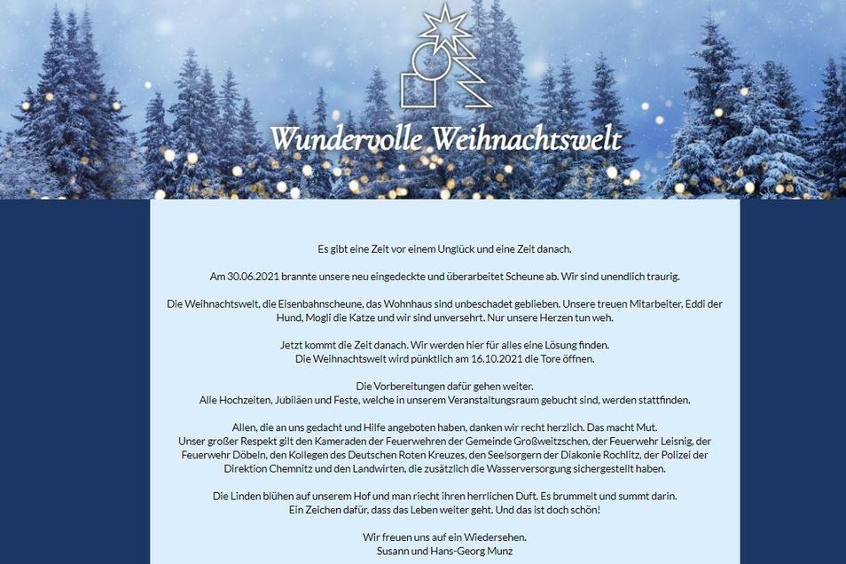 """Auf der Internetseite der """"Wundervollen Weihnachtswelt"""" äußern sich die Betreiber Susann und Hans-Georg Munz erstmals nach dem Brand am Dienstag zu den Ereignissen."""