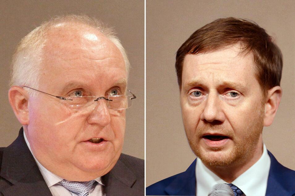 Ministerpräsident Kretschmer (rechts) hat sich jetzt zur Erkrankung von Löbaus OB geäußert.