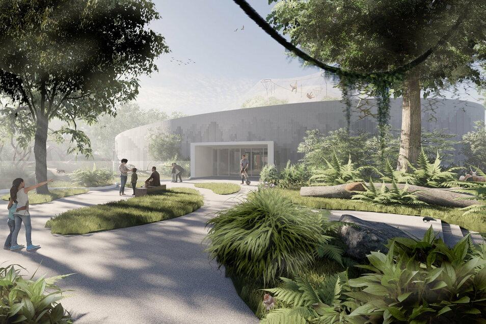 So soll das neue Orang-Utan-Haus im Dresdner Zoo von außen aussehen. Im Hintergrund ist das weitläufige Außengehege zu sehen.