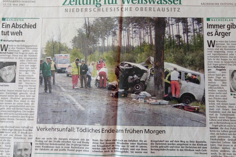 So berichtete die Sächsische Zeitung 2007 über den Unfall.