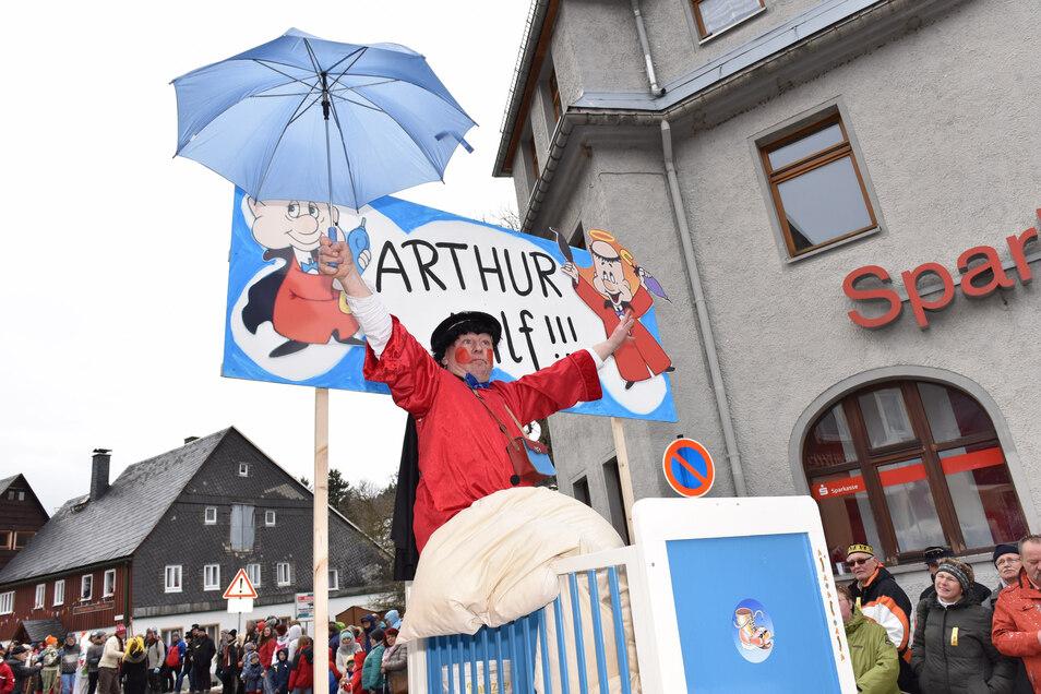 Ob Arthur den Geisingern auch an diesem Sonntag hilft. Vielleicht sorgt er für schönes Wetter beim Umzug des Ski- und Eisfaschings.