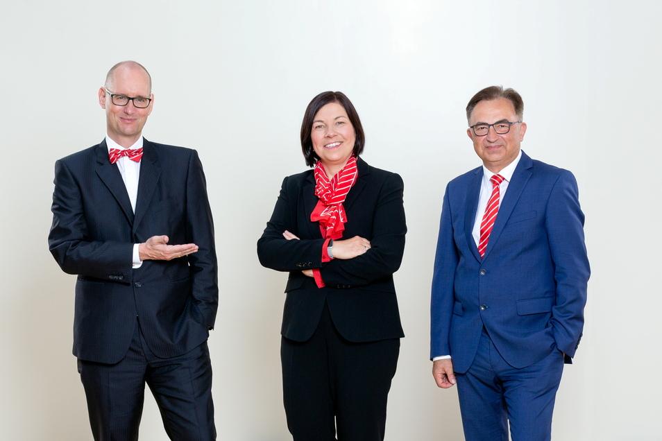 Der neue Vorstand der Sparkasse Oberlausitz-Niederschlesien: Michael Bräuer (li.), Grit Fugmann (Mitte), Frank Hensel (re.)