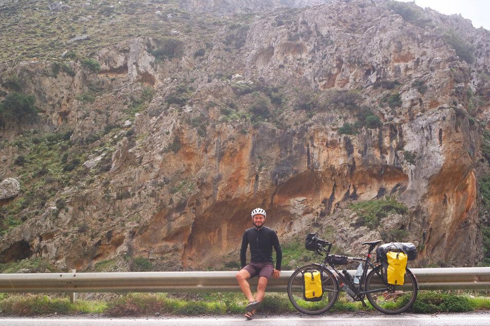 Mitte März, kurz vor der Corona-Krise: Auf Kreta konnte Maik Schätzel noch ungehindert radfahren.