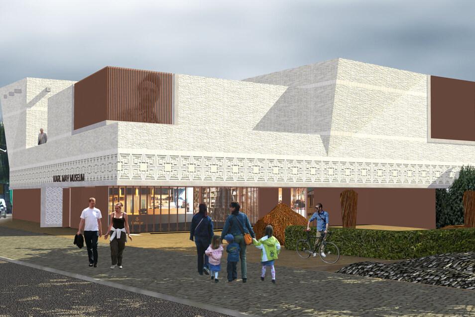 So soll das neue Karl-May-Museum mit dem Eingang von der Meißner Straße in Radebeul mal aussehen.