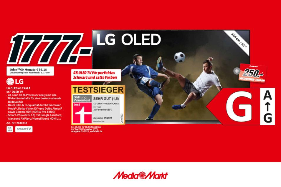 Der LG OLED 65 CX 9 LA jetzt für 1.777€ + 250€ Volltreffer-Coupon