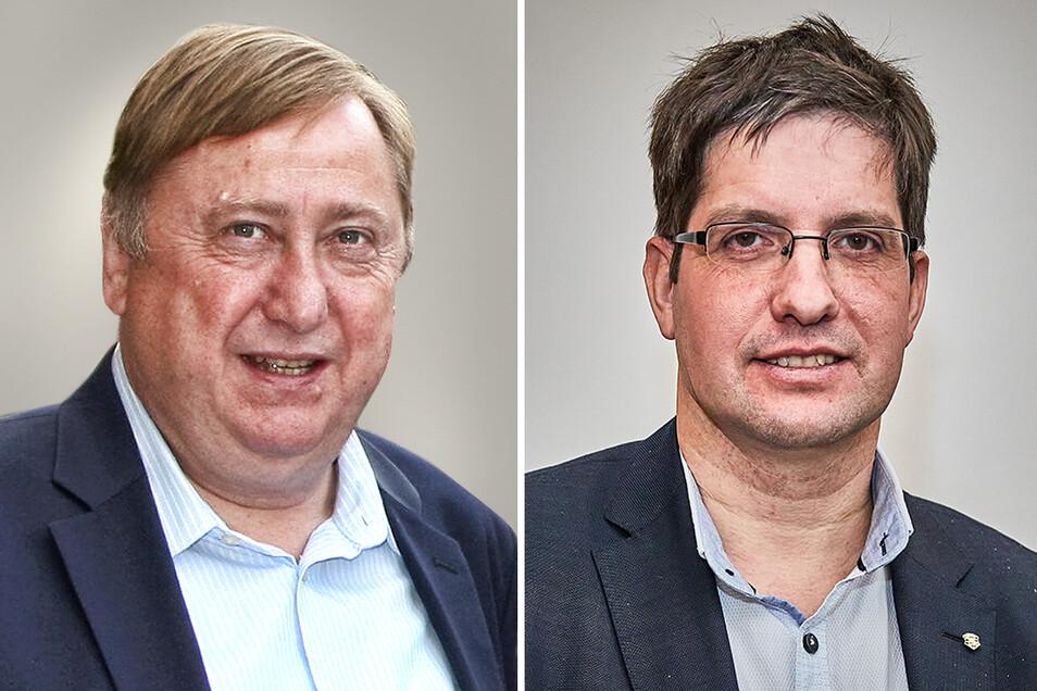 Bundestagsabgeordneter Hahn (Die Linke. l.), Landtagsabgeordneter Teichmann (AfD). Einer der beiden positioniert sich klar zu den Übergriffen auf Polizisten.