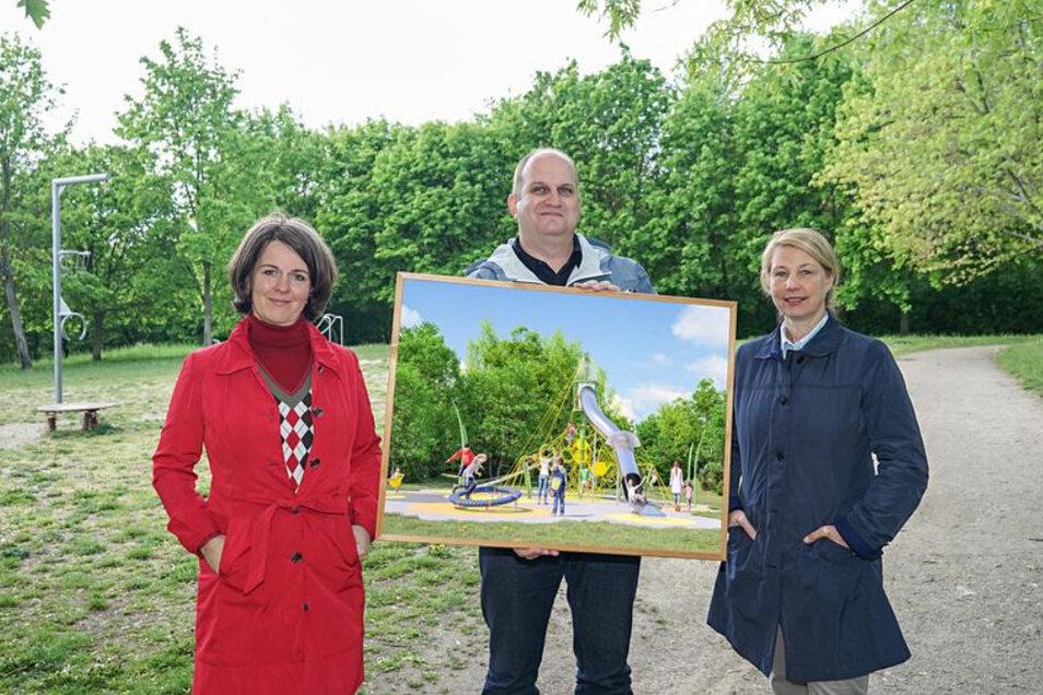 Im Frühjahr zeigten Landschaftsarchitektin Annekathrin Bernstein, Stadtrat Matthias Knaak und die Geschäftsführerin der BWB einen Entwurf für den neuen Erlebnispark.