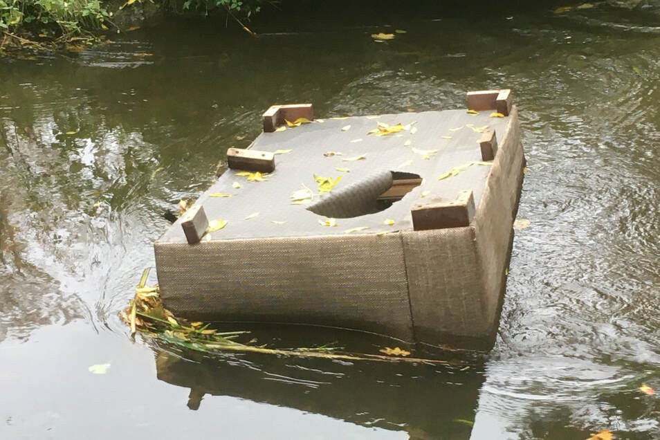 Dieses Sofa haben Vandalen im Stadtpark in die Röder geworfen. Eigentlich sollten sie es auch wieder herausholen und entsorgen.