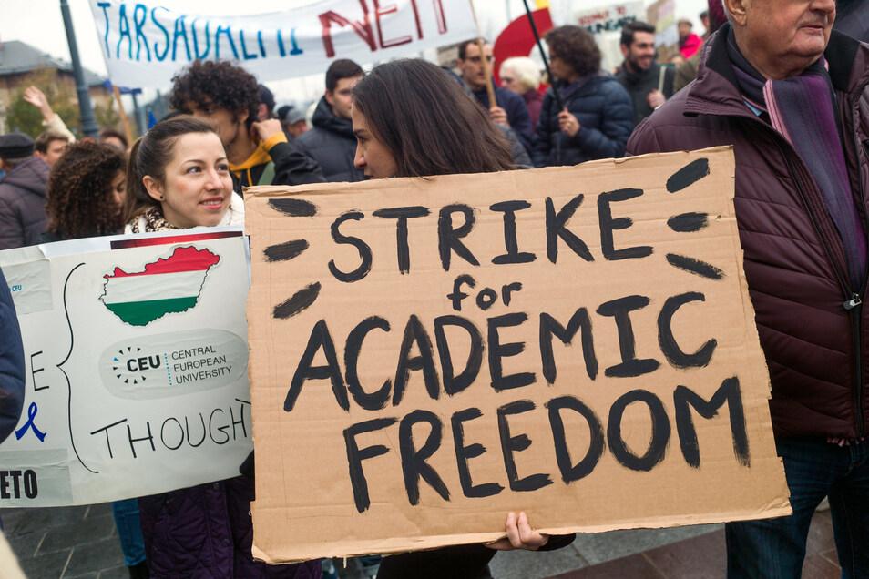 Jugendliche demonstrierten in der Vergangenheit oft gegen die Behinderung der Central European University des US-Milliardärs George Soros.