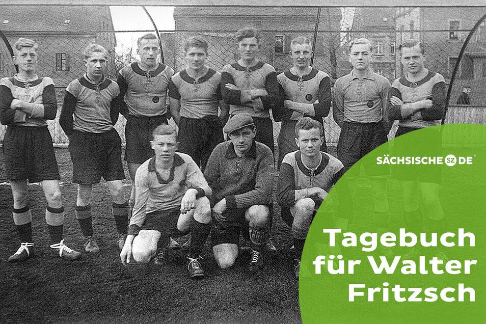 Als junger Spieler beim Planitzer SC zu Beginn der 1940er-Jahre: Walter Fritzsch (stehend 2. v. l.) war mit Heinz Krügel (vorn links), dem späteren Erfolgscoach des 1. FC Magdeburg, in einer Mannschaft.