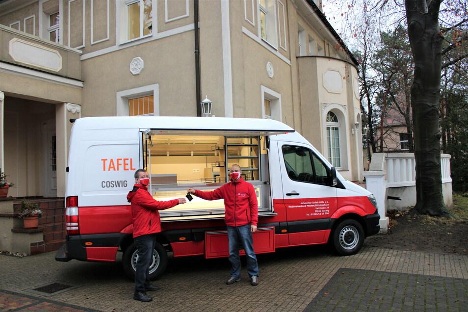Mit diesem neuen Kühlfahrzeug nimmt die Johanniter Unfall-Hilfe als neuer Betreiber der Tafel Coswig ab Mittwoch den Betrieb auf.