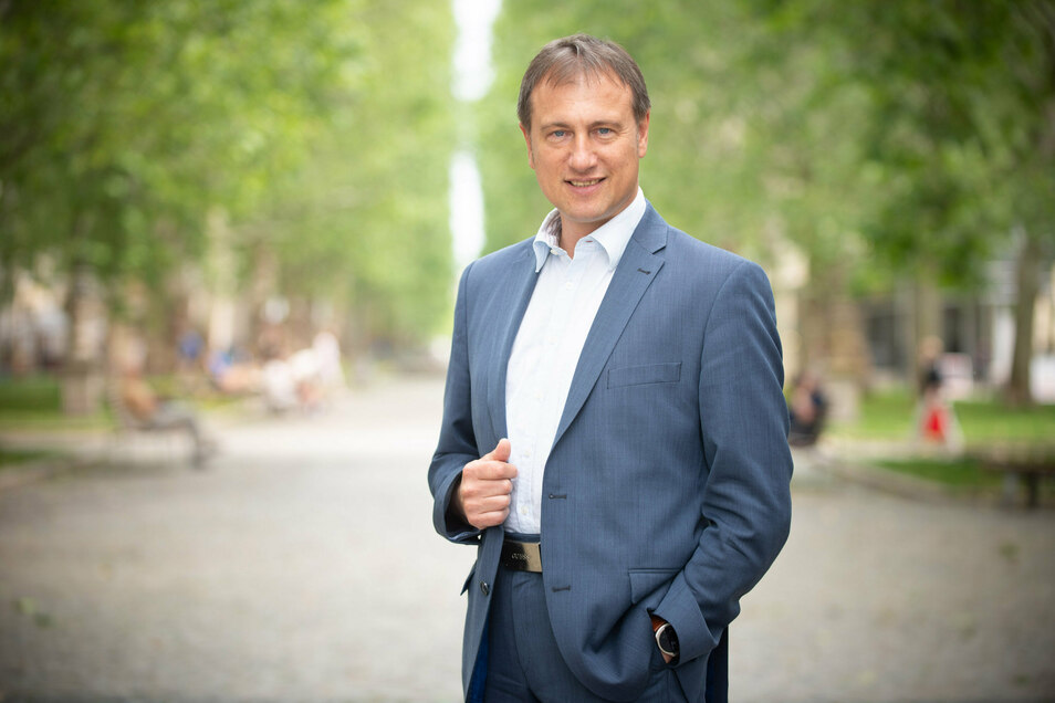 Steffen Große in Dresden. Der Ex-Chef der sächsischen Freien Wähler wurde von seinen Posten entfernt.