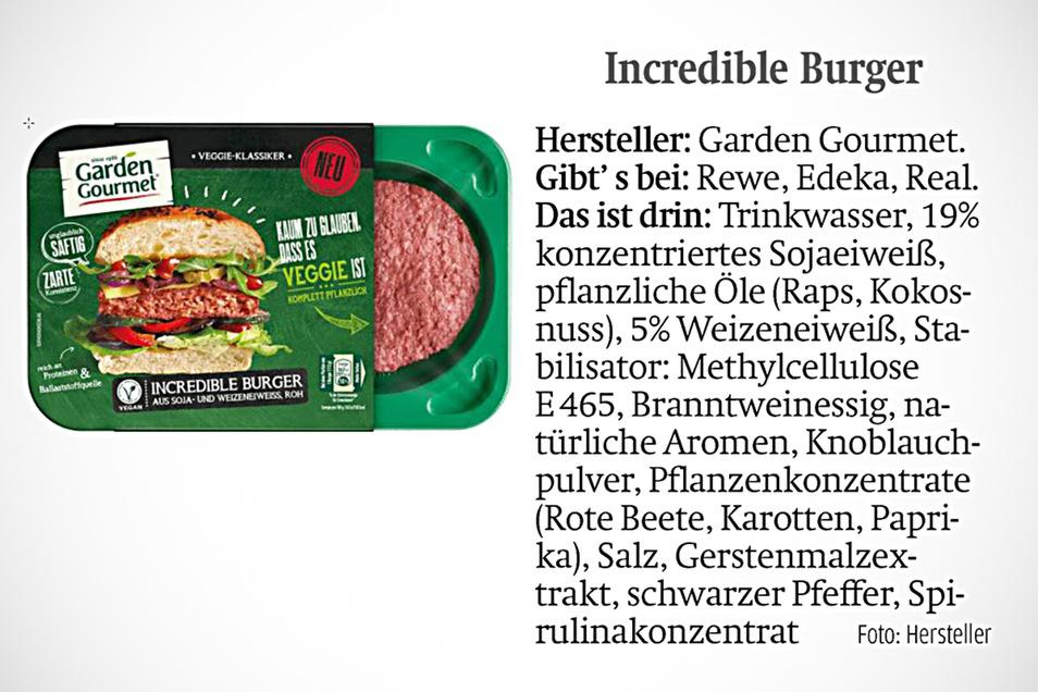 Incredible Burger gibt es bei Rewe, Edeka und Real.