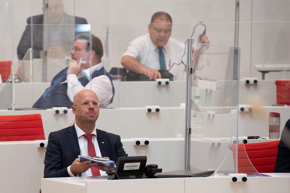 Andreas Kalbitz bei einer Sitzung des Landtages Brandenburg.