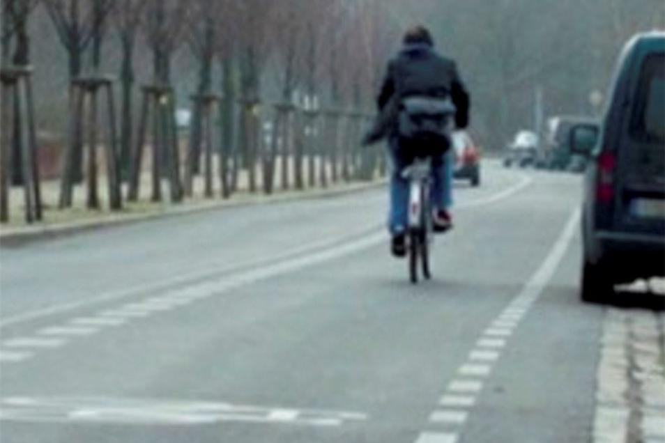 Wie in diesem Bild könnte die Markierung für Radfahrer bald auch auf der Meißner Neugasse aussehen.