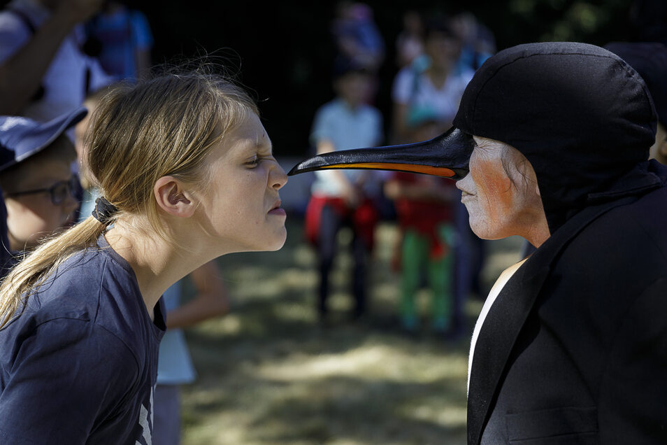 Die Pinguine vom Theater Pikante improvisierten mit den Besuchern.