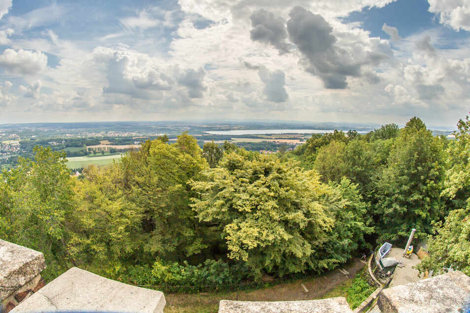 Die Bäume auf dem Hausberg werden immer höher. Vom Aussichtsturm aus ist das Südufer des Berzdorfer Sees kaum noch zu sehen.