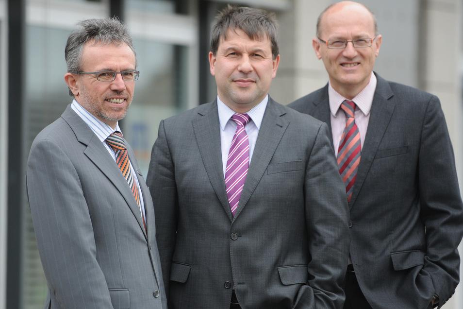 Die drei Vorstände der Volksbank Löbau-Zittau (von links): Karl-Anton Erath, Horst Habrik und Wolfgang Zürn.