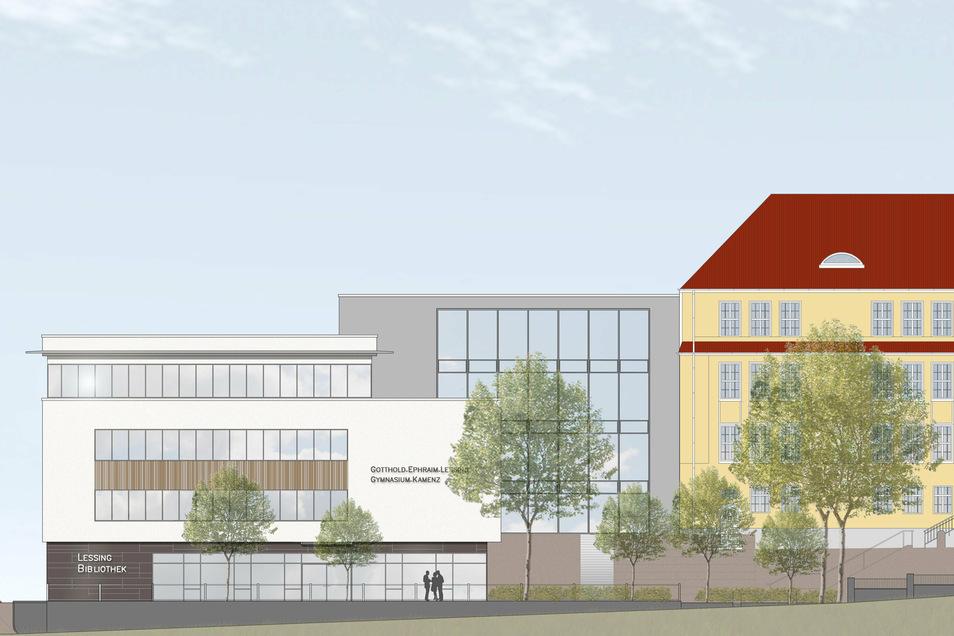 Dieser Blick wird sich künftig von der Kamenzer Oststraße aus bieten: rechts der sanierte Altbau des Gymnasiums und im Erdgeschoss des Neubaus die Lessing-Bibliothek.