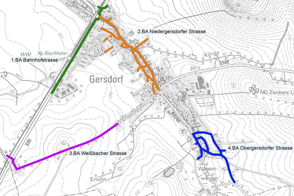 Hier sind die einzelnen Bauabschnitte zu sehen: grün der aktuelle Abschnitt auf der Bahnhofstraße, orange der zweite Bauabschnitt auf der Niedergersdorfer Straße, lila der dritte Abschnitt auf der Weißbacher Straße und blau der vierte Abschnitt auf der Ob