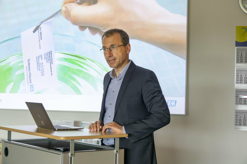 Der Chef des Waldheimer Standortes von Endress und Hauser, Dr. Axel Fikus.