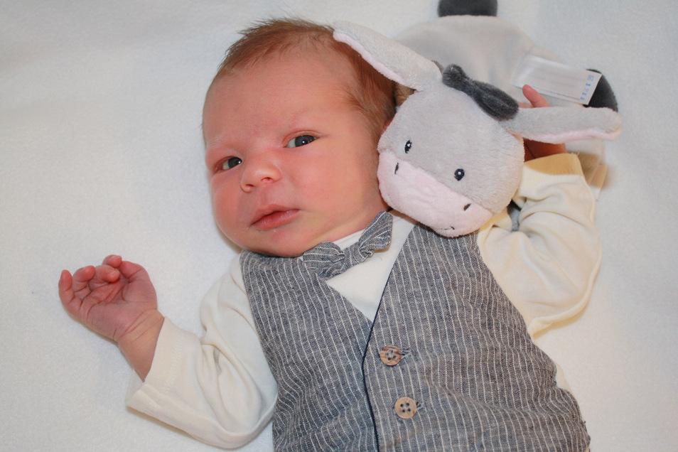 Theo Schäfer, geboren am 23. März, Geburtsort: Kamenz, Gewicht: 3.845 Gramm, Größe: 50 Zentimeter, Eltern: Lisa und Nils Schäfer, Wohnort: Lichtenberg