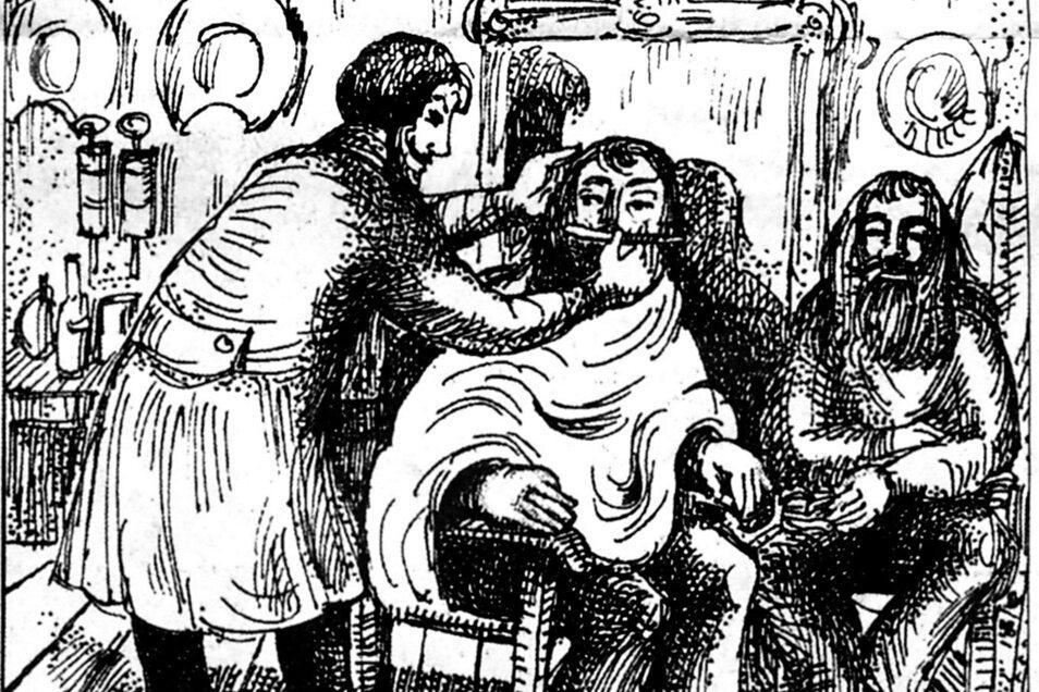 """Die erste Barbierstube im Weißeritztal wird um 1825 in der Gesindestube eines Potschappler Bauerngutes eröffnet. Chef der """"Stelle für Bart- und Haarpflege"""" ist Ortsvorsteher Hermann Otto."""