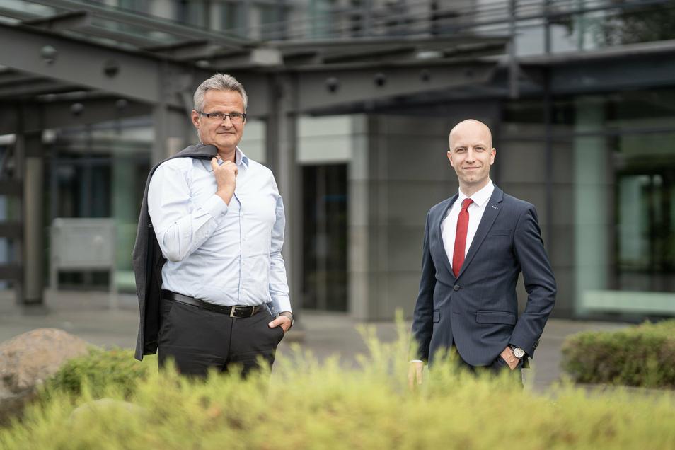 Präsentieren sich als Macher-Duo: Betriebsrat Frank Sonntag (links) und der neue Geschäftsführer Dennis Schulz vom Linde-Standort in Dresden.