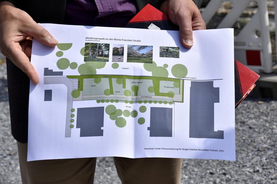 """So sieht der Plan des Landschaftsarchitekten für den """"Minibürgerpark"""" aus."""