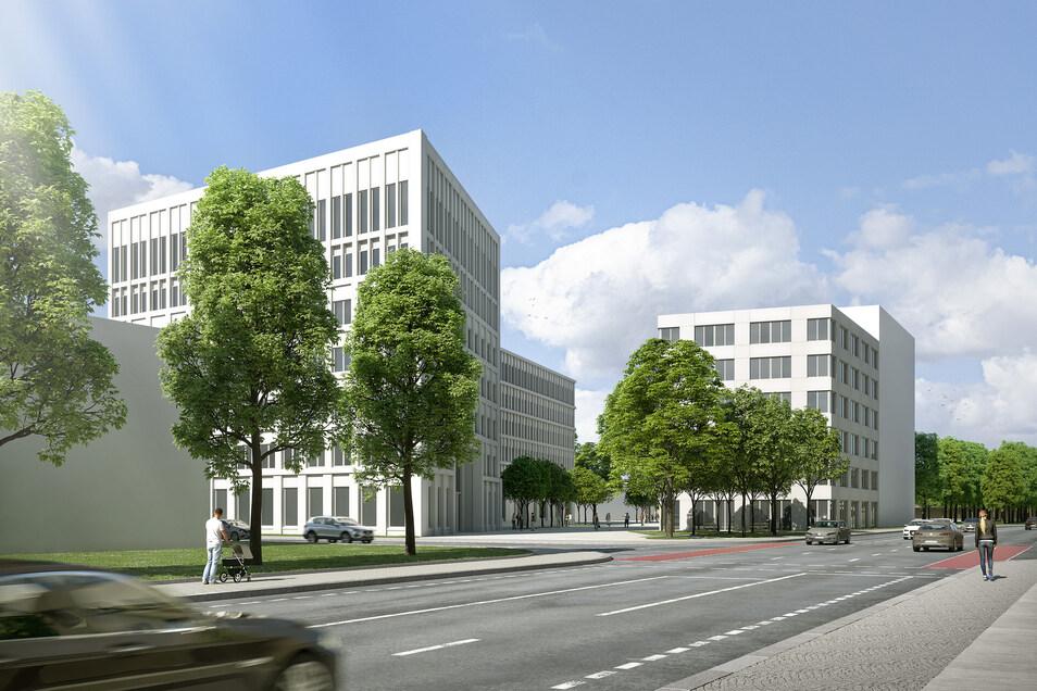 Das Architektenbüro Hartmann+Helm aus Weimar hat einen ersten Entwurf für den Komplex auf dem Packhof-Areal in Dresden erstellt. Umstritten ist die Höhe des Eckgebäudes an der Devrientstraße.