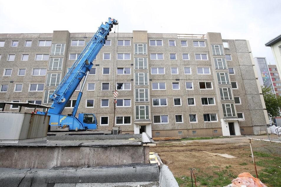 Der Wohnblock am Karl-Marx-Ring wird verkleinert. Während der Eingang Nummer 42 (im Bild rechts) verschwindet, behält der Rest des Gebäudes seine Höhe.