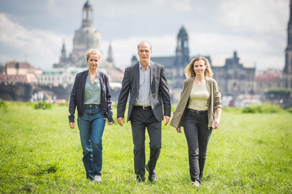 Die Hauptdarsteller des Tatort Dresden: Leonie Winkler, Martin Brambach, Karin Hanczewski. Foto: Sven Ellger Foto: Sven Ellger