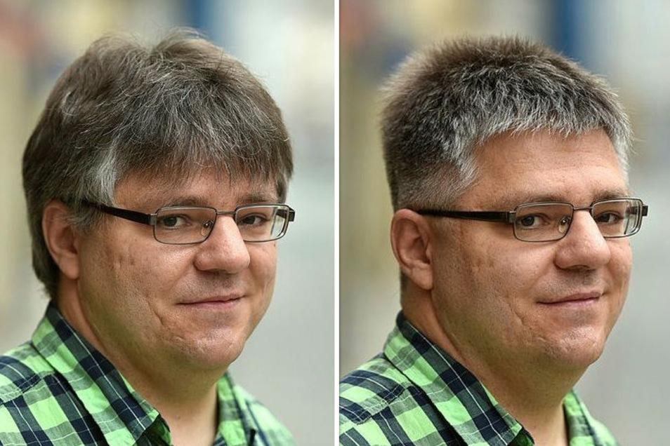 Der Unterschied ist deutlich erkennbar: SZ-Redakteur Jan Lange vor und nach dem Besuch beim Friseur.