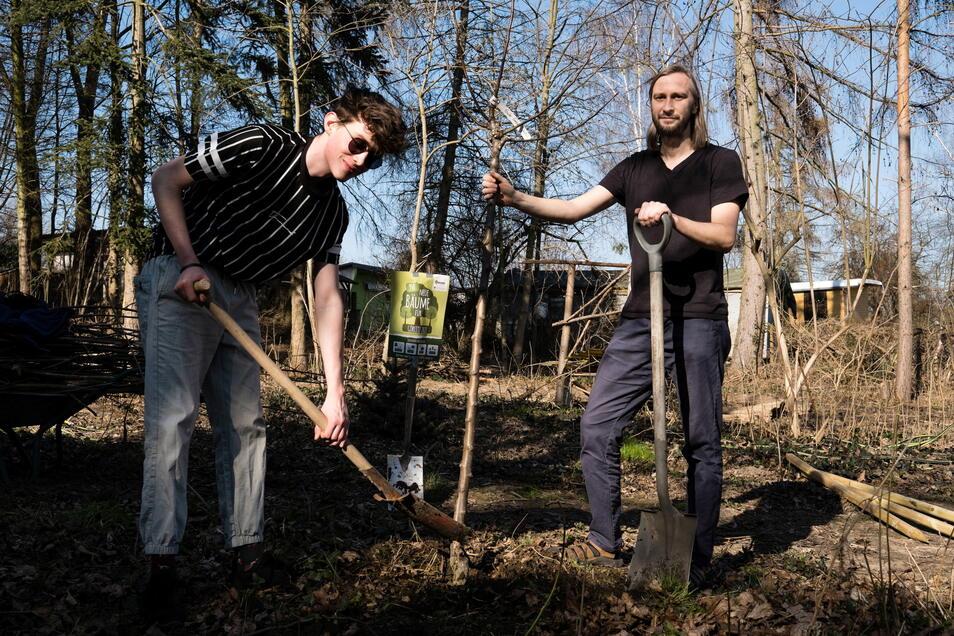 Die ersten Bäume pflanzten im Frühjahr Sascha Röhricht (r.) und Lukas Deege ein.