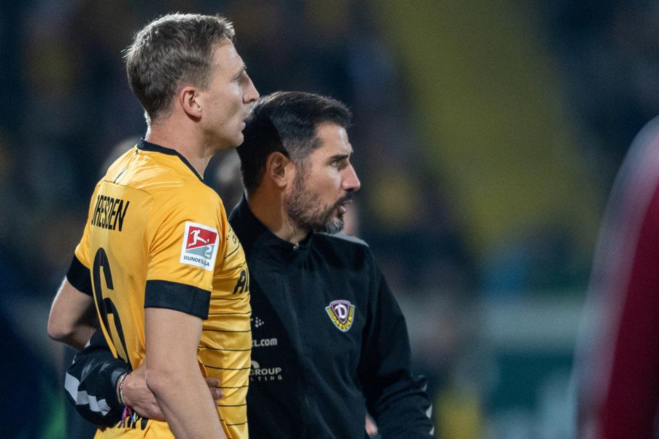 Muss Trainer Cristian Fiel (r.)  schon wieder auf Kapitän Marco Hartmann verzichten?