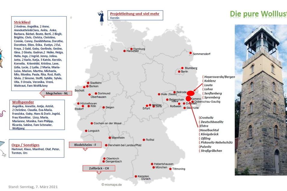 Aus diesen Orten kommen die Beteiligten der Häkel-Aktion zur Verhüllung des Kamenzer Hutbergturmes.