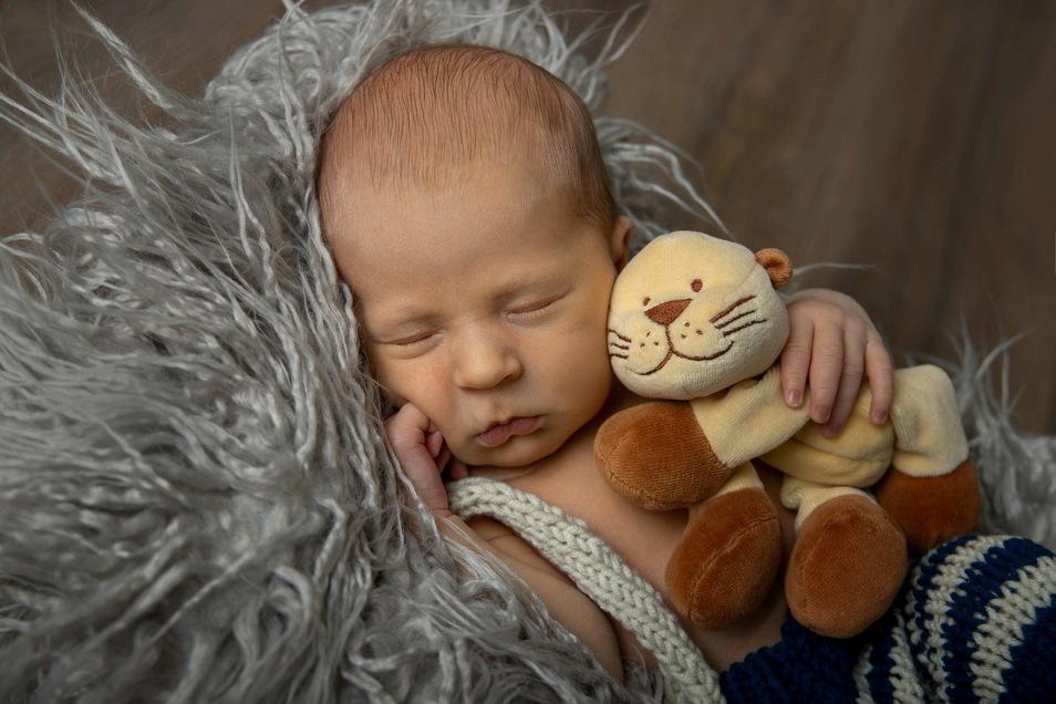 Leopold, geboren am 22. April, Geburtsort: Krankenhaus Dresden St. Joseph-Stift, Gewicht: 3.720 Gramm, Größe: 50 Zentimeter, Eltern: Anastasiia und Thomas Winkler, Wohnort: Dresden