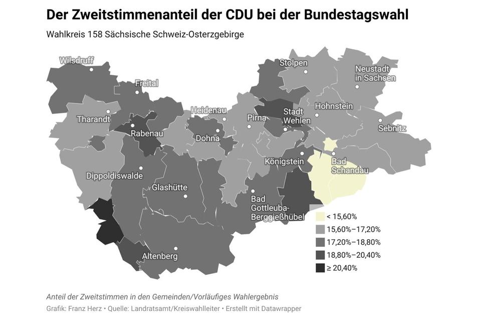 Zweitstimmen der CDU zur Bundestagswahl im Landkreis Sächsische Schweiz-Osterzgebirge.