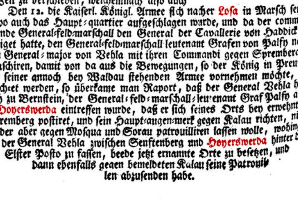 """So konnte man's im Wiennerischen Diarium"""" vom 22. September 1759 lesen. Die roten Hervorhebungen sind allerdings ein Werk der Tageblatt-Redaktion."""