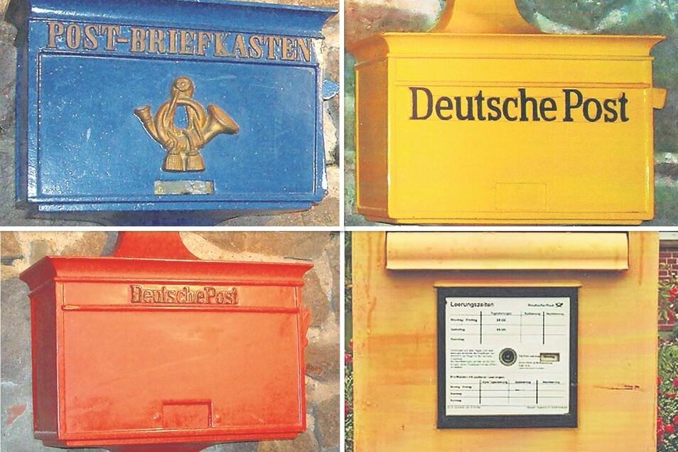Briefkästen wechselten im Lauf der Jahrzehnte ihre Farbe. Die Deutsche Post hatte sich nach blauen Experimenten für Gelb als Erkennungszeichen entschieden, und das ist auch heute noch so. In der NS-Zeit zeigten sich alle Kästen in Rot.