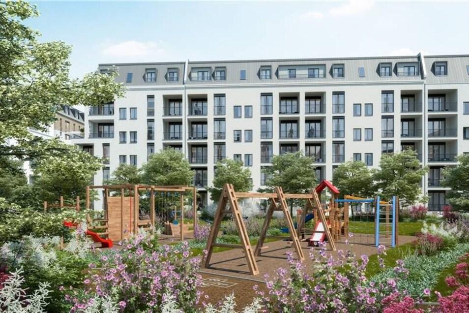 Entstehen sollen nicht nur Mehrfamilienhäuser, sondern auch Eigentumswohnungen, Townhäuser und eine Kita mit 100 Plätzen, die das Unternehmen bauen und dann an die Stadt vermieten will.