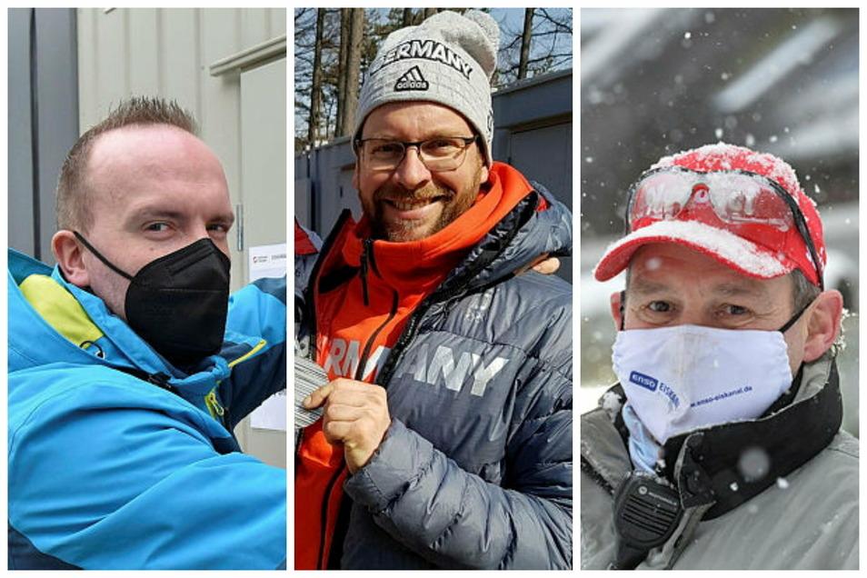 Drei Männer, ohne deren Arbeit eine erfolgreiche WM nicht möglich ist: Hygienebeauftragter Marc Bodis, Bobbauer Enrico Zinn und Eismeister Ralf Mende (von links).