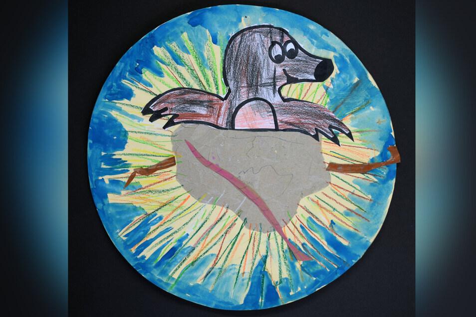 """Unter dem Motto """"Ich glaub, ich träume!"""" hat Lena-Marie Senger eine farbenfrohe Collage gestaltet. Die Frage war: Was macht der Maulwurf im Herbst im Garten? Zur Buchbehandlung """"Vom kleinen Maulwurf, der wissen wollte, wer ihm auf den Kopf gemacht hat"""" wu"""