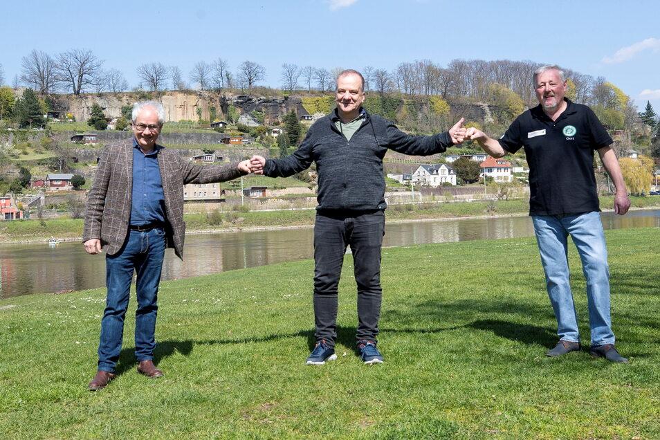 Hatten die Idee zum Sommer-Open-Air an der Elbe in Pirna (v.l.): Tom Pauls, Thomas Gischke und Gert Lorenz.