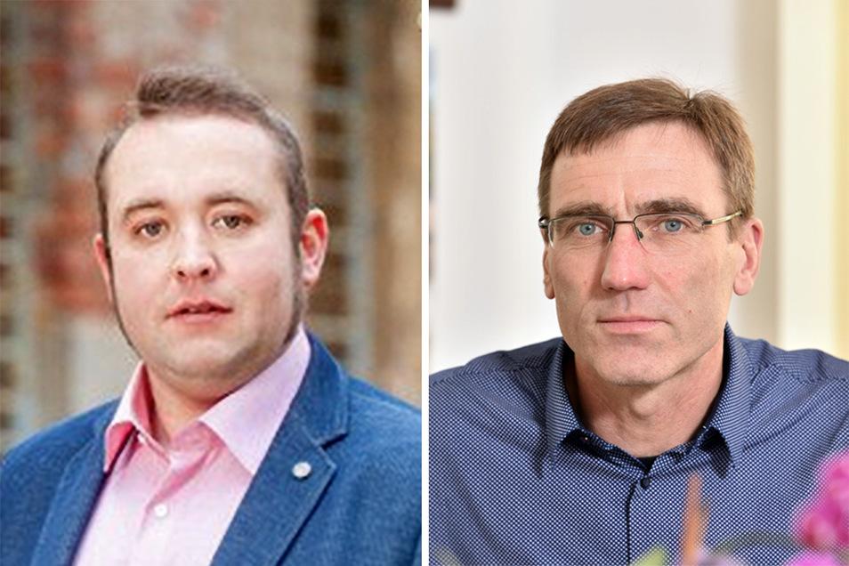 Mario Staudte (li.) und Torsten Schreckenbach bewerben sich um den Bürgermeisterposten in der Gemeinde Klingenberg.