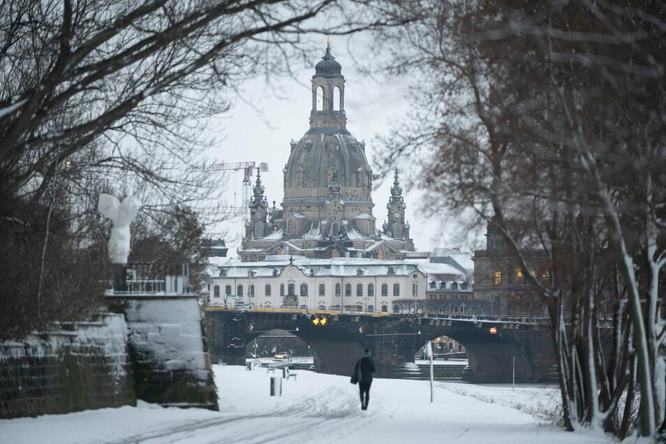 Das Winterwetter bleibt Dresden vorerst erhalten. So viel Neuschnee wie am Donnerstag kommt aber nicht noch einmal.