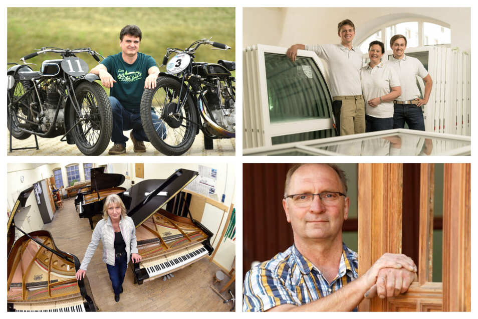 Vier der ausgezeichneten Betriebe: Autohaus Hille, Tischlerei Briesowsky-Graf, August Förster und Kienöl (von oben links nach unten rechts)