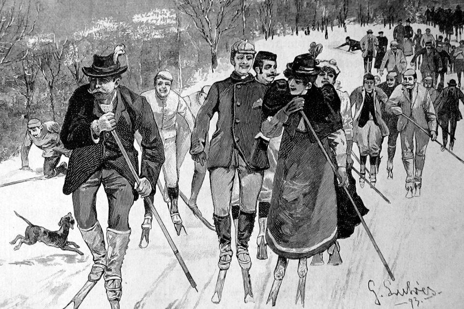 """Solche meist sonntags unternommenen Vergnügungen wurden oft auch in zeitgenössischen Bildern festgehalten, so wie hier in einer Ausgabe der Illustrierten """"Daheim"""" aus dem Jahr 1898."""